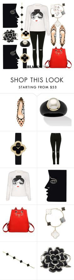"""Mod girl"" by ellenfischerbeauty ❤ liked on Polyvore featuring Charlotte Olympia, Palm Beach Jewelry, Van Cleef & Arpels, Topshop, Alice + Olivia and Chanel"