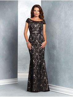 Mermaid Long Black Lace Mother of The Bride Dresses 907029