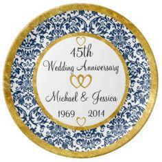 "Personalized 45th Anniversary Porcelain Plate (<em data-recalc-dims=""1"">$54.95</em>)"