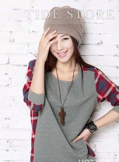Loose Round Neckline Plaid T-shirt