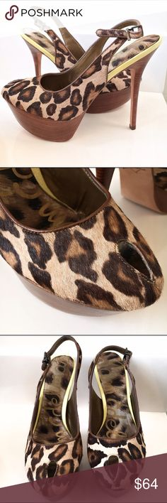 Sam Edelman Leopard Print Platform Heels Shoes 8 They're in excellent condition! Leather upper and man made sole. The platform is 1.5 inches and the heel is 5.5 inches tall. Sam Edelman Shoes Platforms