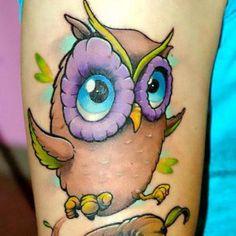 Cute Cartoon Owl Tattoo Idea