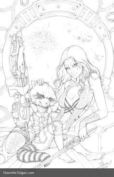 Gamora and Rocket Racoon: Pencils by Dawn-McTeigue on DeviantArt Adult Coloring Book Pages, Coloring Pages To Print, Colouring Pics, Coloring Books, Comic Books Art, Comic Art, Bd Pop Art, Fantastic Art, Cool Drawings