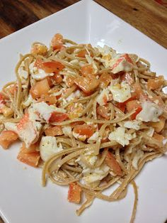 Whole Grain Linguini with White Wine Vinegar Sauce and Crab meat! Yum!