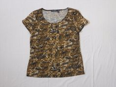 Notations Petite Women's Short Sleeve Multi-Colored Tan Brown Top, Size PS  #Notations #Top