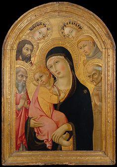 Madonna and Child with Saints Jerome, Bernardino, John the Baptist, Anthony of Padua, and Two Angels - Sano di Pietro (Ansano di Pietro di Mencio) - Siena, Italy - 1465-1470