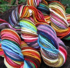 Self-striping handspun yarn.