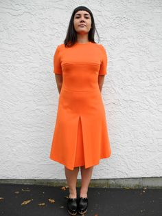 Bright Orange 60s Vintage Dress   MOD fitted short sleeve mini dress   Medium M Large L Mod Dress, High Collar, Drop Waist, Workout Shorts, A Line Skirts, Day Dresses, Vintage Dresses, High Neck Dress, Bright