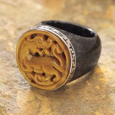 Sterling Tiger Eye Carved Dragon,Black Jade Ring - New Age & Spiritual Gifts at Pyramid Collection