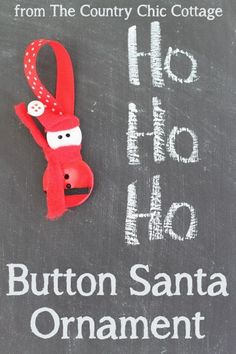 Button Santa Ornament -- a perfect craft for kids and adults.  Make these cute ornaments for your Christmas tree.