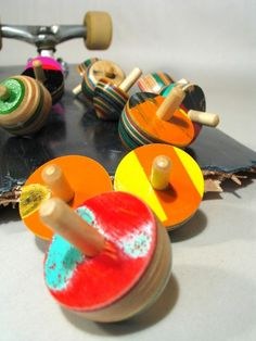 Tiny Wooden Spinning Tops by BoardGames on Etsy