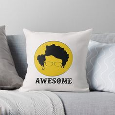 'Awesome' Throw Pillow by CavemanMedia Your Best Friend, 2 Colours, Decorative Throw Pillows, Bed Pillows, My Arts, Art Prints, Awesome, Gift Ideas, Printed