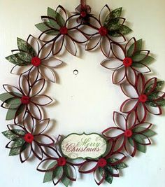 wreath for Christmas made with toilet paper rolls