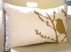 Mustard Print on Off White Cotton Bird on Cherry Blossom by joom, $28.00
