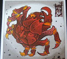 Items similar to Japanese tattoo inspired Samurai Crab watercolor paining print on Etsy Tattoo Japanese Style, Traditional Japanese Tattoos, Japanese Sleeve Tattoos, Tattoo Japonais, Asian Dragon Tattoo, Crab Tattoo, Sketchy Tattoo, Spider Tattoo, Oriental Tattoo