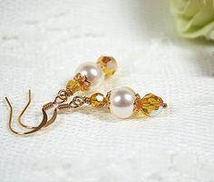 Yellow bridesmaid jewelry Swarovski crystal and white pearl bridesmaid earring Wedding party gift bridal jewelry Drop earring Beaded jewelry by MossRoseBrideJewelry on Etsy
