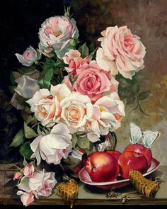 ružové ruže vo váze - Схемы вышивки - he4lin6da - Авторы - Портал «Вышивка…
