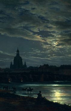 """nigra-lux: """" DAHL, Johan Christian (1788-1857) View of Dresden by Moonlight, detail 1839 Oil on canvas, 78 × 130 cm New Masters Gallery, Dresden Ed. Orig. Lic. Ed. """""""
