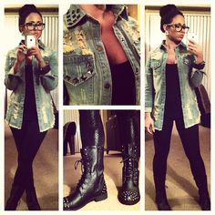 Relaxed outfit by Olivia Sharpe frm Jerseylicious........ light wash distressed with black studs denim shirt - black jeggings - black combat boots - black cami - black nerd glasses - black cuff bracelet - silver studs