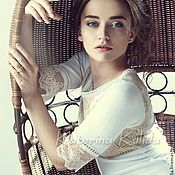 Одежда ручной работы. Ярмарка Мастеров - ручная работа Белое платье с кокеткой. Handmade.