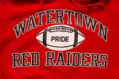 super popular c015e ee944 Watertown Red Raiders Football Pride Champion Hoodie, Vintage 80s, High  School, Reverse Weave Warmup Hooded Sweatshirt, Long Sleeve Apparel