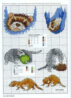 Gallery.ru / Фото #70 - Picture Your Pet in Cross Stitch - patrizia61.p playful ferrets.