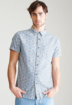 Woodblock Sunburst Button-Down Shirt   21 MEN - 2000134928