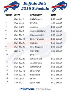 Printable Buffalo Bills Schedule - 2016 Football Season