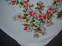 Vintage Tablecloth Pink Cherry Blossoms Floral
