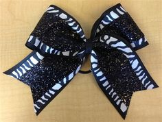 Black Glitter Zebra Bow by Empire Cheer, $15.00 #cheerbow #bow #hairbow