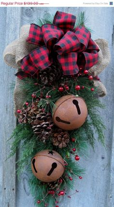 Christmas Rustic Buffalo Plaid and Burlap Swag -  oh yeah!  Great way to use some of those leftover branches of the artificial tree that DIED!
