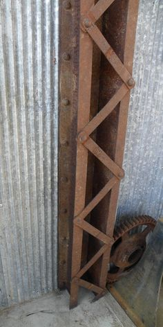 Industrial bridge steel beam loft apartment rusty patina vintage look....awesome piece, you MUST see...endless ideas. $485.00, via Etsy.