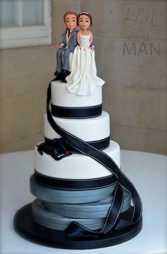 Movie, film themed wedding cake.
