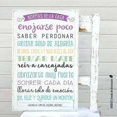 Cuadro con frase - Normas de la casa - comprar online Decoupage Vintage, Family Wall, Gift Quotes, Ideas Para, Wood Signs, Wedding Decorations, Shabby Chic, Bullet Journal, Wall Decor