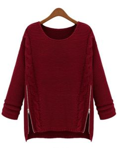 Wine Red Long Sleeve Side Zipper Cable Knit Sweater US$31.99 #sheinside