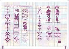 0 point de croix grille et couleurs de fils marque-pages