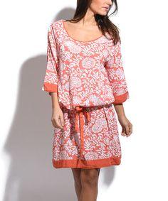 This Orange & White Floral Blouson Dress is perfect! #zulilyfinds