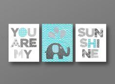 Grey Aqua chevron Nursery art baby nursery decor nursery wall art Kids art elephant nursery words Set of 3 Prints You Are My Sunshine Baby Nursery Decor, Baby Decor, Nursery Wall Art, Girl Nursery, Nursery Ideas, Nursery Room, Bed Room, Baby Boy Rooms, Baby Boy Nurseries