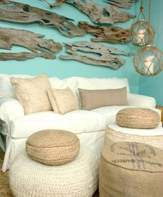 Our Boat House Coastal Decor. Slip Covered Furnishings, Natural Poufs, Driftwood, Net Lamps and much more: http://www.ourboathouse.com/coastal-ottomans/
