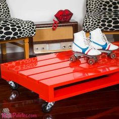 Mesa de centro com Pallet Vermelho