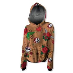 Skulls Tatoo and roses Hoodie Weed Hoodies, Sweatshirts, Diamond Hoodie, Skulls And Roses, Colorful Hoodies, Wool Fabric, Creative Design, Tatoos, Organic Cotton