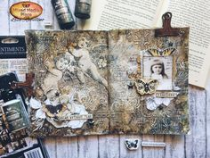 New art-journal spread by Lisa Rabellino is a mixture of Finnabair Tissue Paper and media, A.B. Studio elements and Art Daily products. Check our blog for more. Matte Gel, Altered Tins, New Art, Paper Art, Stencils, Vintage World Maps, Mixed Media, Lisa, My Arts