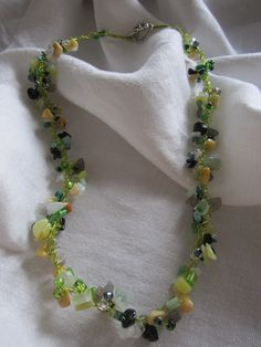 Labdorite, Yellow Jade, New China Jade, Black Agate, Czech Beads Necklace Crocheted on Chartreuse Silver Plated Wire