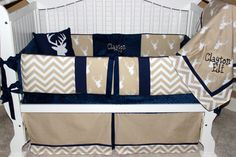 Custom baby bedding 6 pc set woodland, deer, forest, lodge, navy chevron and tan and navy