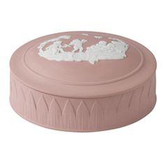 Wedgwood Jasper Classic White on Pink Trinket Box