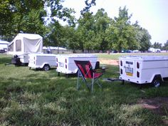 A group of Kompact Kamp Mini Mate campers at Daytona Bike Week. Pull Behind Motorcycle Trailer, Pull Behind Campers, Small Trailer, Cargo Trailers, Touring, Camping, Bike, Group, Camping Trailers