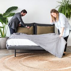 The Frank bed was designed for Project 82 by cm studio. Shown here in Charcoal Felt fabric. Here is Chris and Megan the designers. Luxury Furniture, Furniture Design, Ebony Legs, Thing 1, Linen Sofa, Felt Fabric, Leather Sofa, Simple Designs, Man Cave