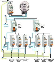 Пример простой схемы электрического щита Electrical Circuit Diagram, Home Electrical Wiring, Electrical Plan, Electrical Installation, Electrical Engineering, Electrical Equipment, Diy Electronics, Electronics Projects, Refrigeration And Air Conditioning
