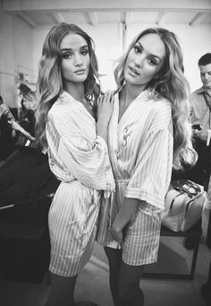 Rosie Huntington Whiteley and Candice Swanepoel. Gorgeous make up and wavy hair before a Victoria's Secret show