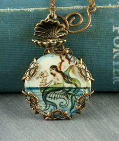 Blue Mermaid Necklace Seahorse Necklace Mermaid Pendant Beach Necklace Oyster Brass Filigree Vintage Mermaid Seashell Altered Art on Etsy Mermaid Pendant, Mermaid Jewelry, Mermaid Necklace, Seashell Necklace, Beach Jewelry, Seashell Art, Ocean Jewelry, Pendant Necklace, Vintage Mermaid